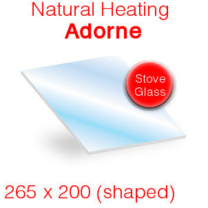 Natural Heating Adorne Stove Glass - 265mm x 200mm (shaped)