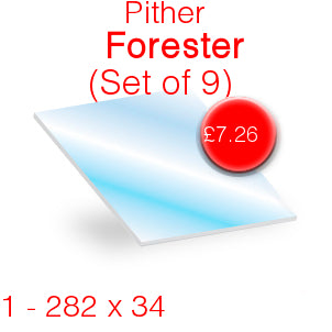 Pither Forester (Set of 9) Stove Glass - 282mm x 34mm