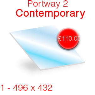 Portway 2 Contemporary Stove Glass - 496mm x 432mm