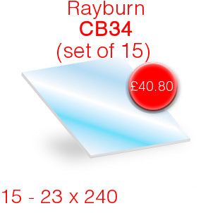 Rayburn CB34 Stove Glass - 23mm  x 240mm (Set of 15)