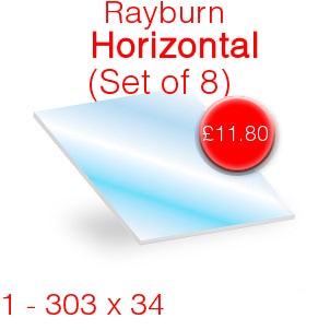 Rayburn Prince Horizontal (Set of 8) Stove Glass - 303mm  x 34mm