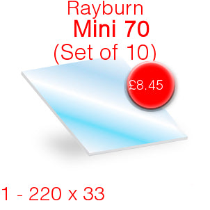 Rayburn Mini 70 Stove Glass - 220mm  x 33mm (Set of 10)