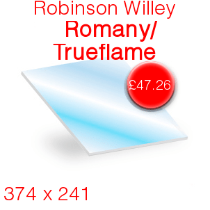 Robinson Willey Romany / Trueflame Stove Glass - 374mm x 241mm