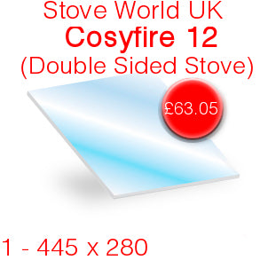 Stove World UK Cosyfire 12 (Double Sided Stove) Stove Glass - 445mm x 280mm