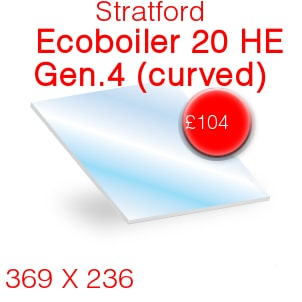 Stratford Ecoboiler 20 HE Generation 4 (curved) Stove Glass - 369mm x 236mm