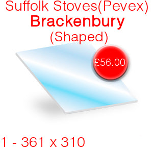 Suffolk Stoves (Pevex) Brackenbury Stove Glass - 361mm x 310mm (Shaped)