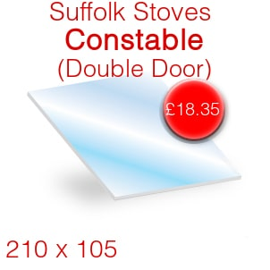 Suffolk Stoves (Pevex) Constable (ST1018) (Double Door) Stove Glass - 210mm x 105mm