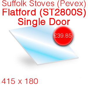 Suffolk Stoves (Pevex) Flatford (ST2800S) (Single Door) Stove Glass - 415mm x 180mm
