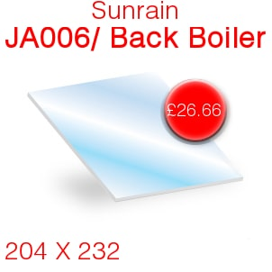 Sunrain JA006/Back Boiler Stove Glass - 204mm x 232mm