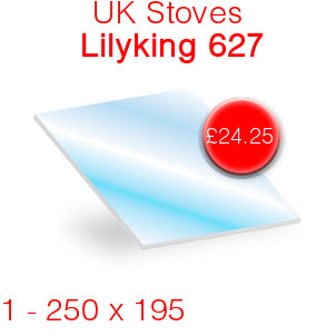UK Stoves Lilyking 627 Stove Glass - 250mm x 195mm