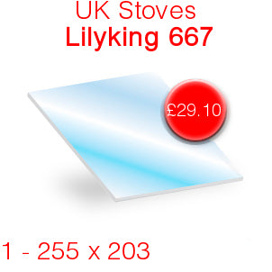 UK Stoves Lilyking 667 Stove Glass - 255mm x 203mm