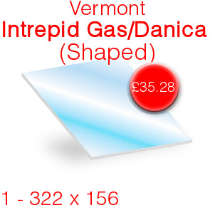 Vermont Intrepid Gas / Danica Stove Glass - 322mm x 156mm (shaped)