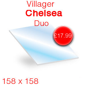 Villager Chelsea / Duo / Mk 2 / Elite Stove Glass - 158mm x 158mm (shaped)