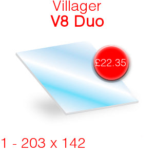 Villager V8 Duo Stove Glass - 203mm x 142mm