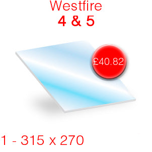 Westfire 4 & Westfire 5 Stove Glass - 315mm x 270mm