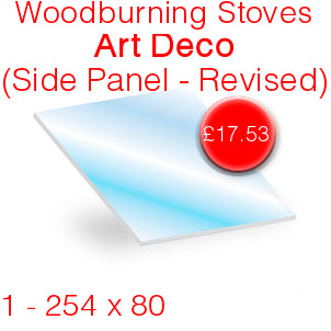 Woodburning Stoves Art Deco (Side Panel - Revised) Stove Glass - 254mm x 80mm