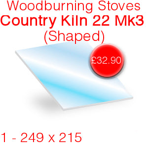 Woodburning Stoves Country Kiln 22 Mk3 Stove Glass - 249mm x 215mm (Shaped)
