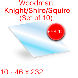 Woodman Knight/Shire/Squire (Set of 10) Stove Glass - 46mm x 232mm