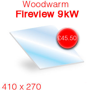Woodwarm Fireview 9kW Stove Glass - 410mm x 270mm