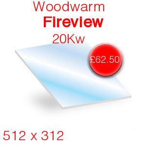Woodwarm Fireview 20Kw Stove Glass - 512mm x 312mm