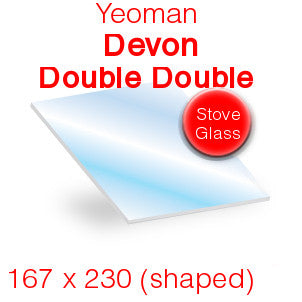 Yeoman Devon Double Double Stove Glass - 167mm x 230mm (shaped)