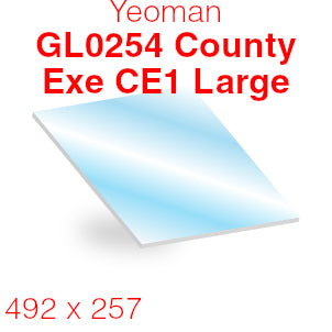Yeoman GL0254 County Exe CE1 Large Stove Glass - 492mm x 257mm (curved)