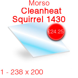 Morso Cleanheat Squirrel 1430 Stove Glass - 238mm x 200mm