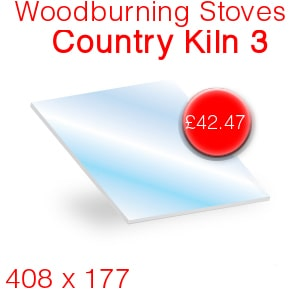 Woodburning Stoves Country Kiln 3 Stove Glass - 408mm x 177mm