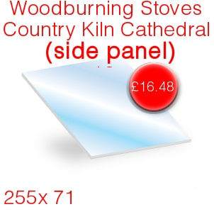 Woodburning Stoves Country Kiln Cathedral (Side Panel) Stove Glass - 255mm x 71mm