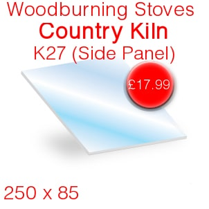 Woodburning Stoves Country Kiln K27 (Side Panel) Stove Glass - 250mm x 85mm