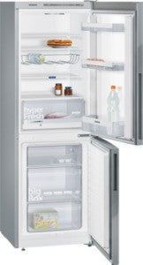 Siemens KG33VVI31G fridge freezer, freestanding, stainless steel.