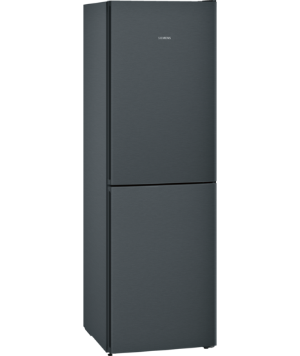 Siemens KG34NVX3AG fridge freezer, black steel.