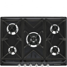 Smeg SR975NGH 70cm Black gas hob with 5 burners