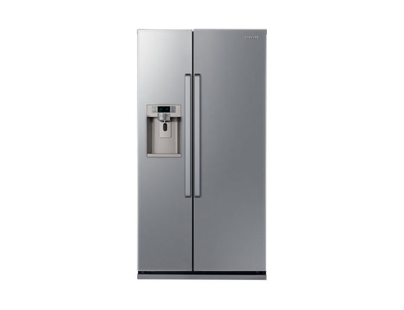 Samsung RSG5UCSL side by side fridge freezer, freestanding, Silver.
