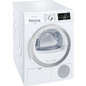 Siemens WT46G491GB condenser tumble dryer, freestanding, white.