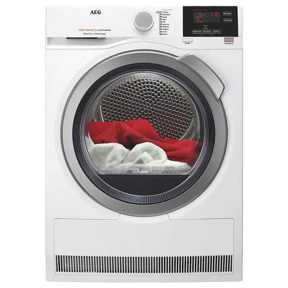 AEG T7DBG832R tumble dryer, white, silver door