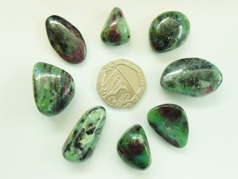 Ruby in Zoisite (Anyolite) tumblestone