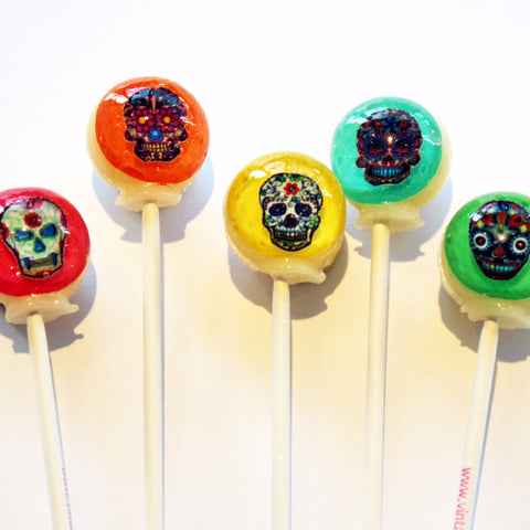 3D sugar skull lollipops by Vintage Confections