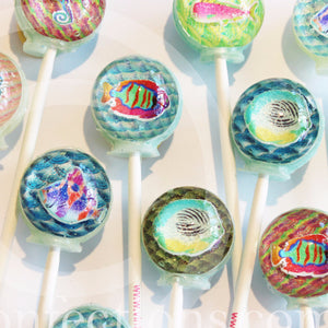 3D deep blue sea aquarium lollipops by I Want Candy!