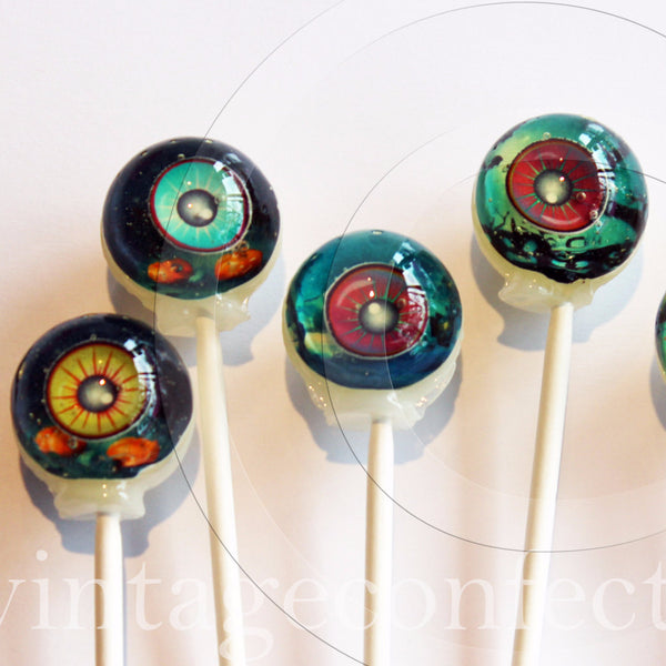 3D creature eyes Halloween lollipops by I Want Candy!