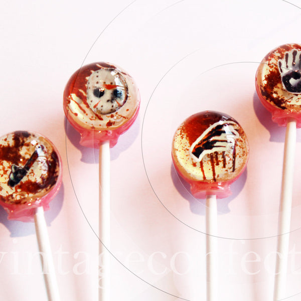 3D Serial Killer Halloween lollipops by Vintage Confections