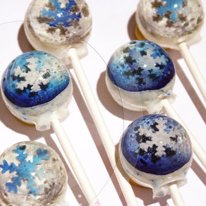 3D Metallic Snowflake lollipops by I Want Candy!
