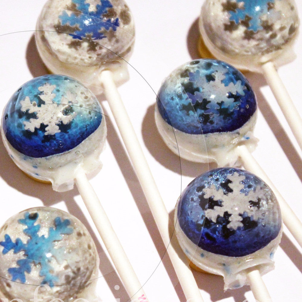 3D metallic snowflakes lollipops by I Want Candy!