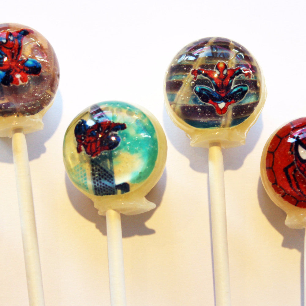 3D Spiderman lollipops by I Want Candy!