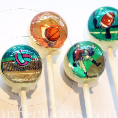 3D sports action lollipops by Vintage Confections