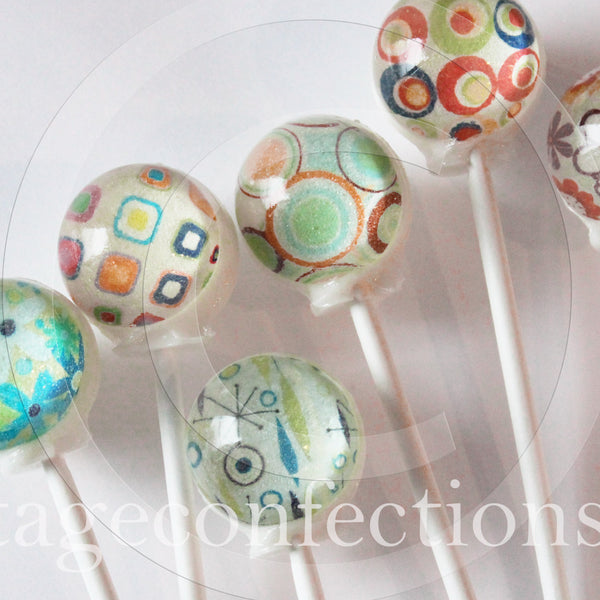 Retro hip hop flower power edible image lollipops by Vintage Confections