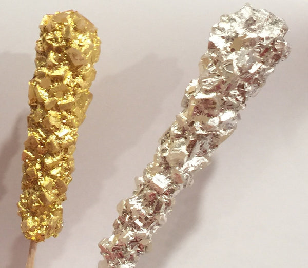 real gold and silver rock candy sticks by vintage