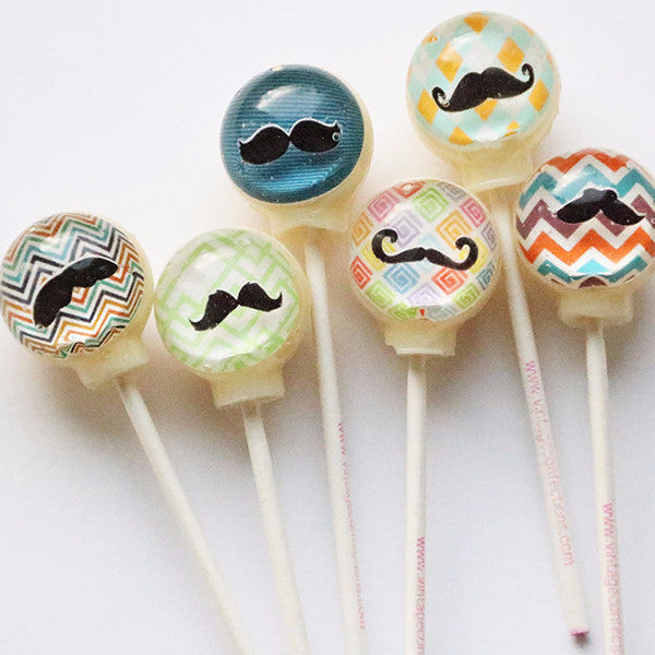 3D mustache lollipops by I Want Candy!