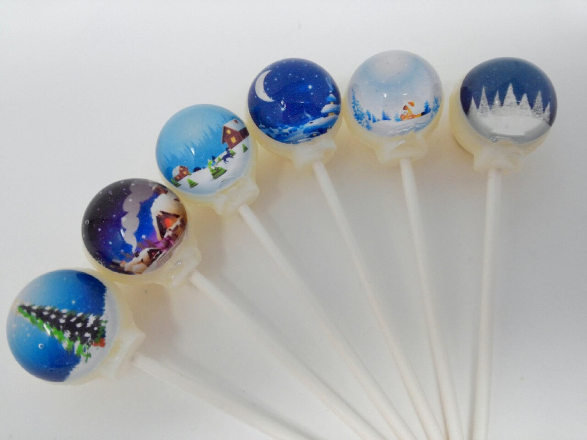 Winter scenes lollipops by I Want Candy!