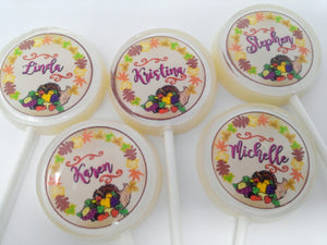 Thanksgiving Personalized lollipop place cards! By I Want Candy!